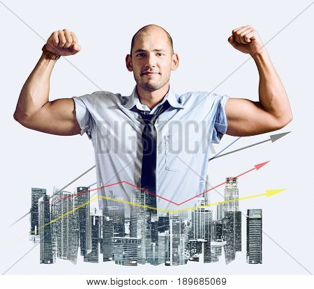 Strong businessman double exposure concept. Business man showing muscular hands, mixed with city skyline