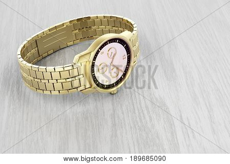 Luxury gold wrist watch on wood background, 3D illustration