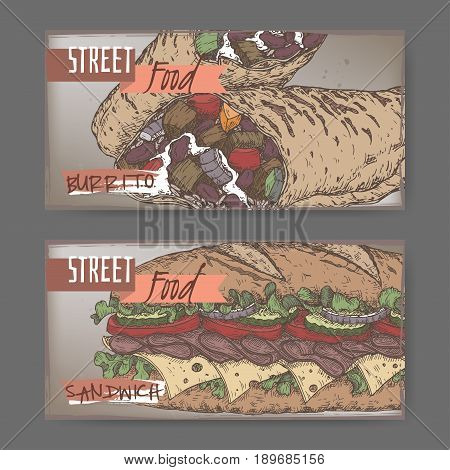 Set of two color landscape banners with burrito and sandwich sketch on grunge background. Street food series. Great for market, restaurant, cafe, food label design.