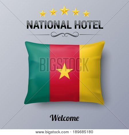 Realistic Pillow and Flag of Cameroon as Symbol National Hotel. Flag Pillow Cover with Cameroonian flag