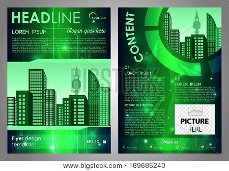 Vector flyer corporate business annual report brochure design and cover presentation with green hi-tech background.