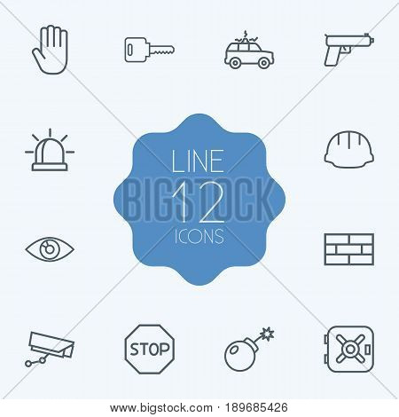 Set Of 12 Security Outline Icons Set.Collection Of Weapon, Safe, No Entry And Other Elements.