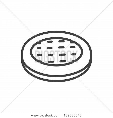 Isolted Cake Outline Symbol On Clean Background. Vector Apple Pie Element In Trendy Style.
