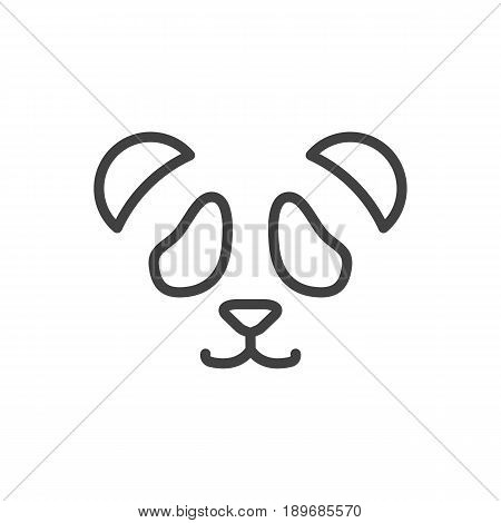 Isolted Panda Outline Symbol On Clean Background. Vector Feline Bear Element In Trendy Style.