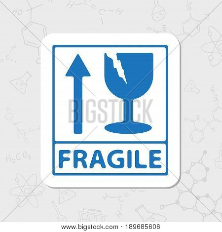 Vector flat sticker fragile icon on white background