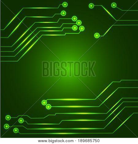Vector illustration of Hi tech green circuit board.