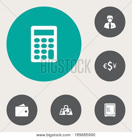 Set Of 6 Finance Icons Set.Collection Of Calculate, Strongbox, Worker And Other Elements.