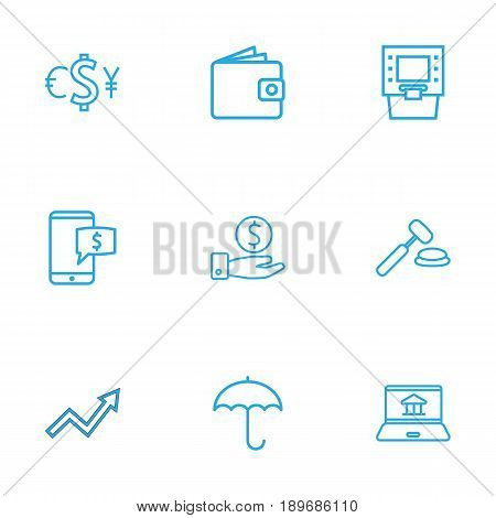 Set Of 9 Finance Outline Icons Set.Collection Of Exchange, Savings, Auction And Other Elements.