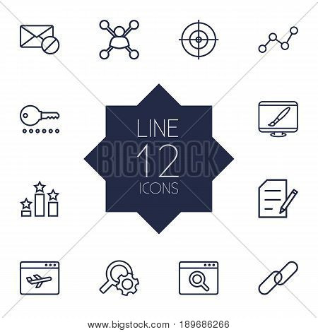 Set Of 12 Search Outline Icons Set.Collection Of SEO Test, Running Title, Arrangement And Other Elements.