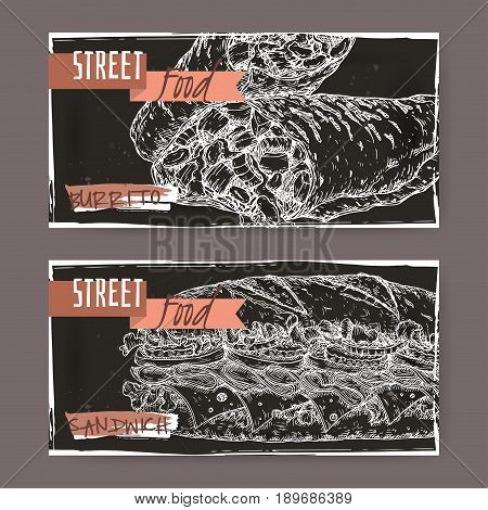Set of two landscape banners with burrito and sandwich sketch on black grunge background. Street food series. Great for market, restaurant, cafe, food label design.