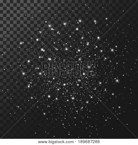 Vector background, texture night starry sky. Element for design, light effect, cluster of white glowing sparks