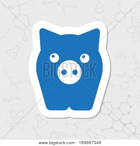 Vector flat sticker pig icon on white background