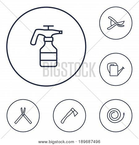 Set Of 6 Farm Outline Icons Set.Collection Of Atomizer, Shears, Firehose And Other Elements.