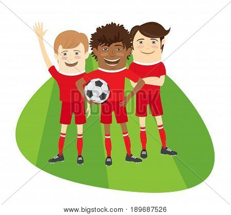Three Funny Football Soccer Players Team Standing On Grass Field