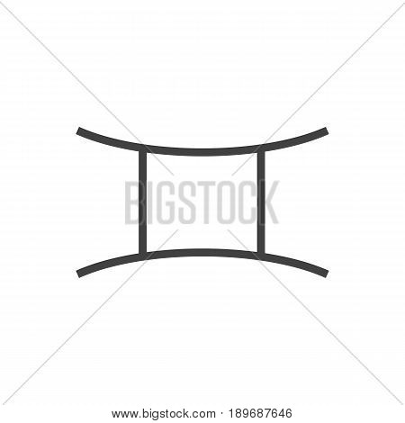 Isolted Twins Outline Symbol On Clean Background. Vector Gemini Element In Trendy Style.
