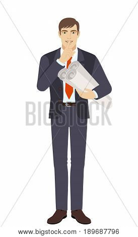Businessman holding the project plans and making hush sign. Full length portrait of businessman character in a flat style. Vector illustration.
