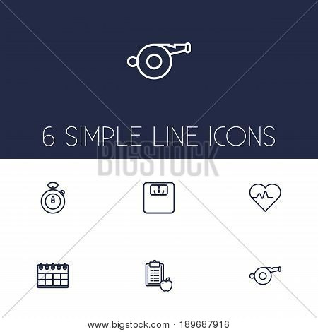Set Of 6 Training Outline Icons Set.Collection Of Calendar, Diet, Scales And Other Elements.