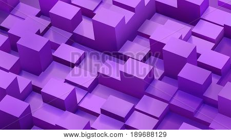 Abstract Background Of Cubes And Parallelepipeds In Purple Colors