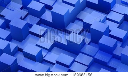 Abstract Background Of Cubes And Parallelepipeds In Blue Colors