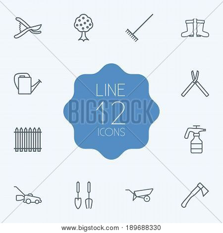 Set Of 12 Household Outline Icons Set.Collection Of Shears, Hatchet, Palisade And Other Elements.