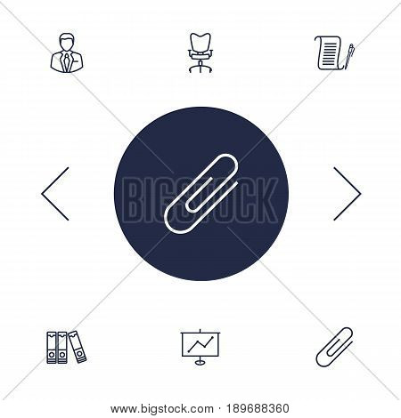 Set Of 6 Bureau Outline Icons Set.Collection Of Administrator, Document Case, Workplace And Other Elements.