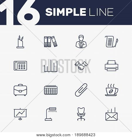 Set Of 16 Cabinet Outline Icons Set.Collection Of Fastener Paper, Chart, Pen Storage And Other Elements.
