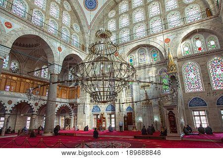ISTANBUL TURKEY - APRIL 30 2017: Detail of interior of Mihrimah Sultan Mosque in the area Edirnekapi Istanbul's historic centre