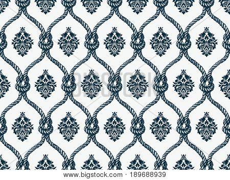 Rope seamless tied fishnet damask pattern
