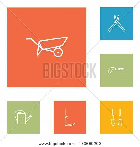Set Of 6 Horticulture Outline Icons Set.Collection Of Arm-Cutter, Scythe, Shears And Other Elements.