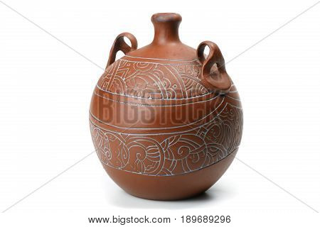 Old brown jug isolated on white background