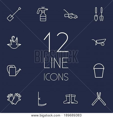 Set Of 12 Farm Outline Icons Set.Collection Of Spade, Scythe, Barrow And Other Elements.