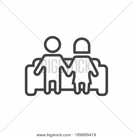 Isolted Married Outline Symbol On Clean Background. Vector Couple Element In Trendy Style.