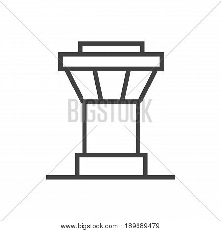 Isolted Air Traffic Controller Outline Symbol On Clean Background. Vector Control Tower Element In Trendy Style.