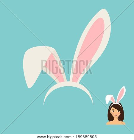 Bunny ears accessory icon and female face with rabbit ears on blue background. Vector illustration
