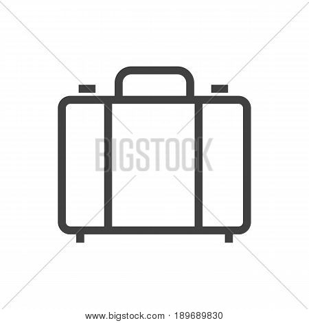 Isolted Suitcase Outline Symbol On Clean Background. Vector Portfolio Element In Trendy Style.
