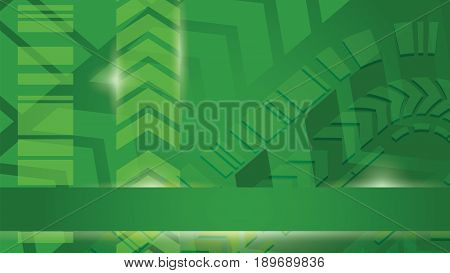 green arrows light abstract cyberspace vector background. Digital information flow crative horizontal presentation template