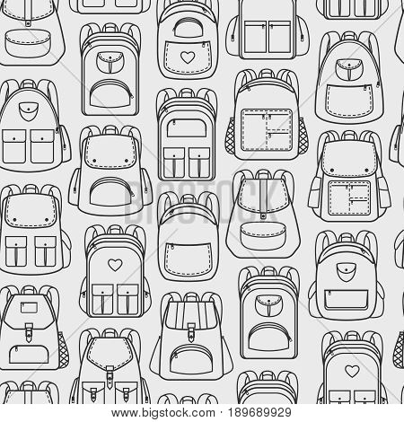 Backpacks seamless pattern. Sport and vacation, school and hiking back packs and haversacks vector background