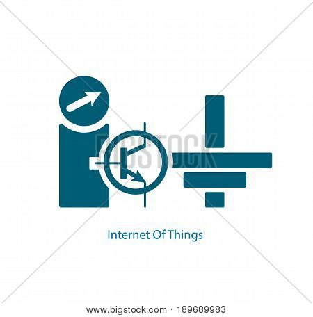 Internet Of Things from electrical transistor and grounding symbols. Modern consumer and industrial IoT technology sign vector illustration.