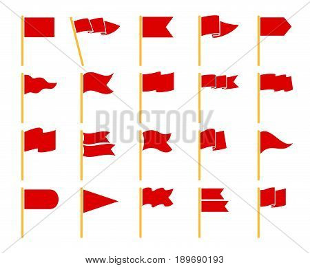 Red flags isolated on white background. Flag set on yellow staves icons vector pictogram set