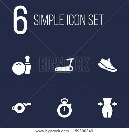 Set Of 6 Fitness Icons Set.Collection Of Blower, Timer, Sneakers And Other Elements.