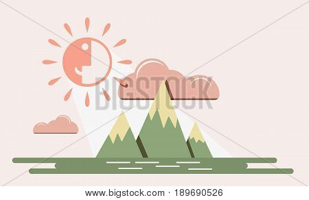 Mountain sky with funny smiling sun vector landscape illustration