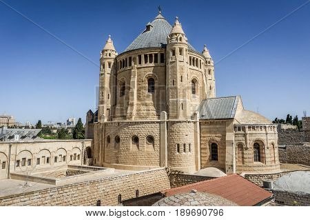 The Dormition Abbey, Catholic church, Benedictine monastery, outside the walls of the Old City of Jerusalem, Israel