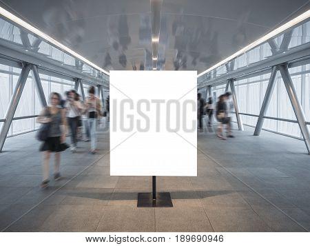 Blank Mock up Banner Poster stand Blur People walkway indoor building