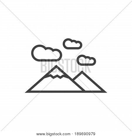 Isolted Landscape Outline Symbol On Clean Background. Vector Mountains Element In Trendy Style.