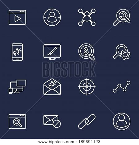 Set Of 16 Search Outline Icons Set.Collection Of Url, Cost Per, Choice And Other Elements.