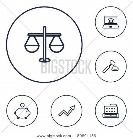 Set Of 6 Budget Outline Icons Set.Collection Of Auction, Justice, Grow Up And Other Elements.