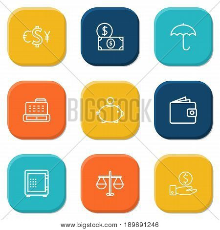 Set Of 9 Budget Outline Icons Set.Collection Of Money Box, Wallet, Cash Register And Other Elements.