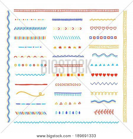 Big hand drawn collection of multicolored pattern brushes isolated on white background. Can be used as line borders and dividers.