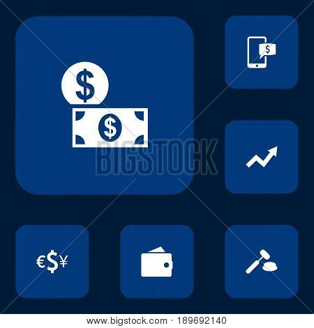 Set Of 6 Finance Icons Set.Collection Of Online Banking, Grown, Judge And Other Elements.