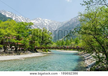 Nagano Japan - May 21 2016: Kappa bridge is the famous place in kamikochi national park. Many tourists sightseeing and taking a picture